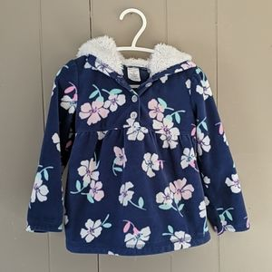 3T Floral Fleece 3/4 Button Pullover w Hood
